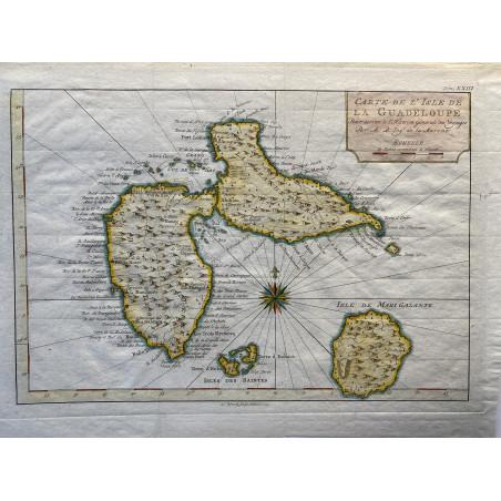 Carte de l' ile de la Guadeloupe, M.Bonne, 1760