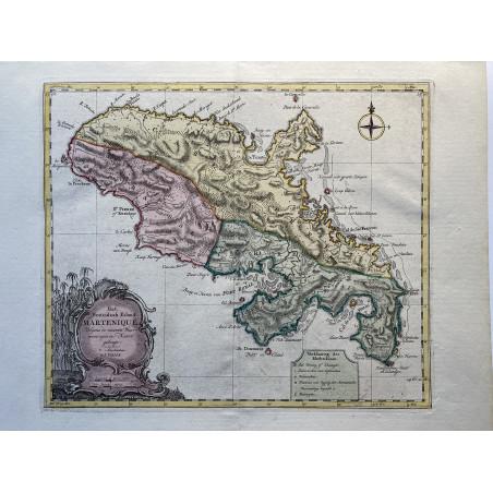 Carte de la Martinique, Isaac Tirion, 1740