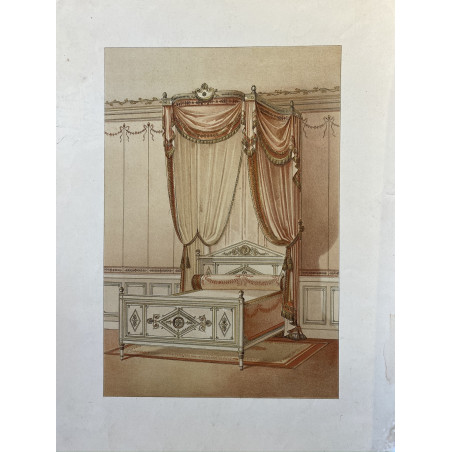 Lit style directoire, lithographie, 1900