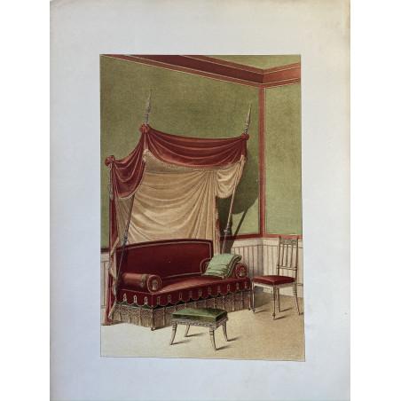 Divan, tabouret et chaise fantaisie, lithographie, 1900