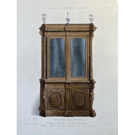 Bibliothèque genre renaissance, lithographie, 1860