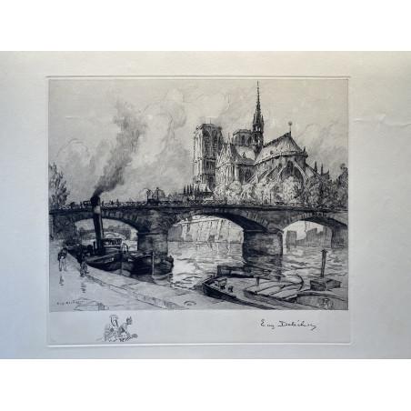 Notre Dame et le pont de l'Archevéché, E.DELECLUSE, 1920