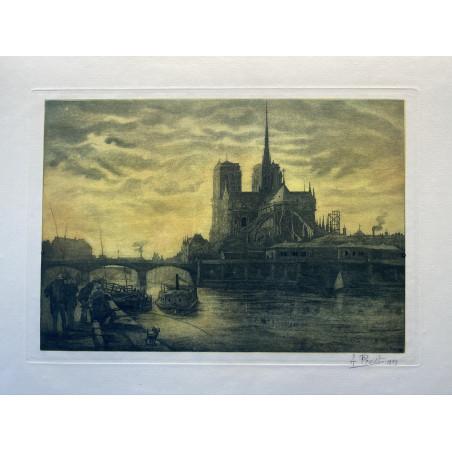 Le pont de l'Archeveché et Notre Dame, 1909
