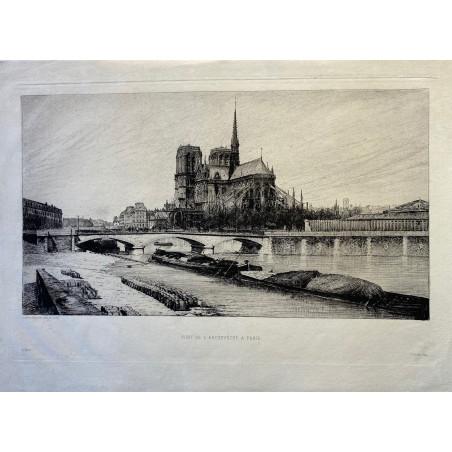 Pont de l' Archevêché à Paris, Notre Dame, 1880