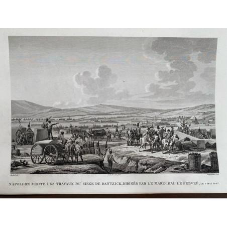 Napoléon visite les travaux du siège de Dantzick, dirigé par la Maréchal Lefebvre, 9 Mai 1807.
