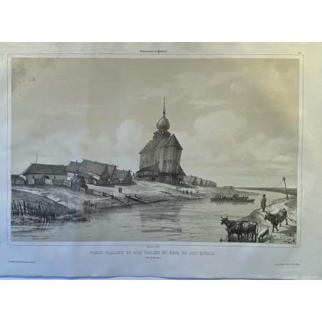 Gouvernement de Yaroslaw, vieux village et son église en bois du XIII ème Siècle.