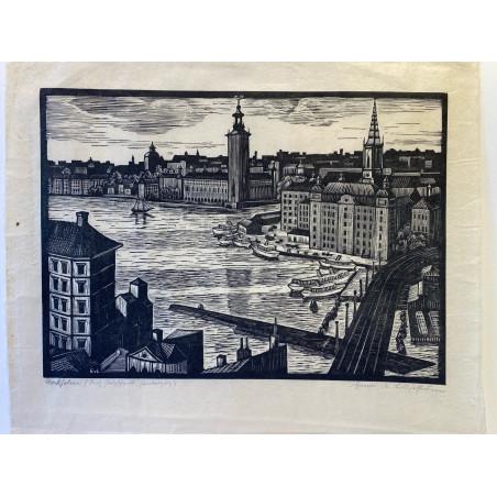 Suède, Stockholm, bois gravé de Emmi Von Lilljeström.