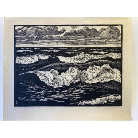 Suède, la vague, bois gravé de Emmi Von Lilljeström.