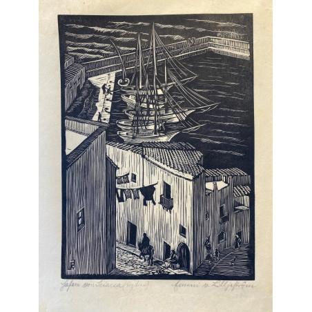 Suède, le port, bois gravé de Emmi Von Lilljeström.