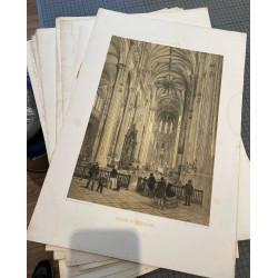 Lot 40 lithographies Paris dans sa splendeur, 1861
