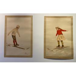 Carlo Pellegrini, couple de skieurs