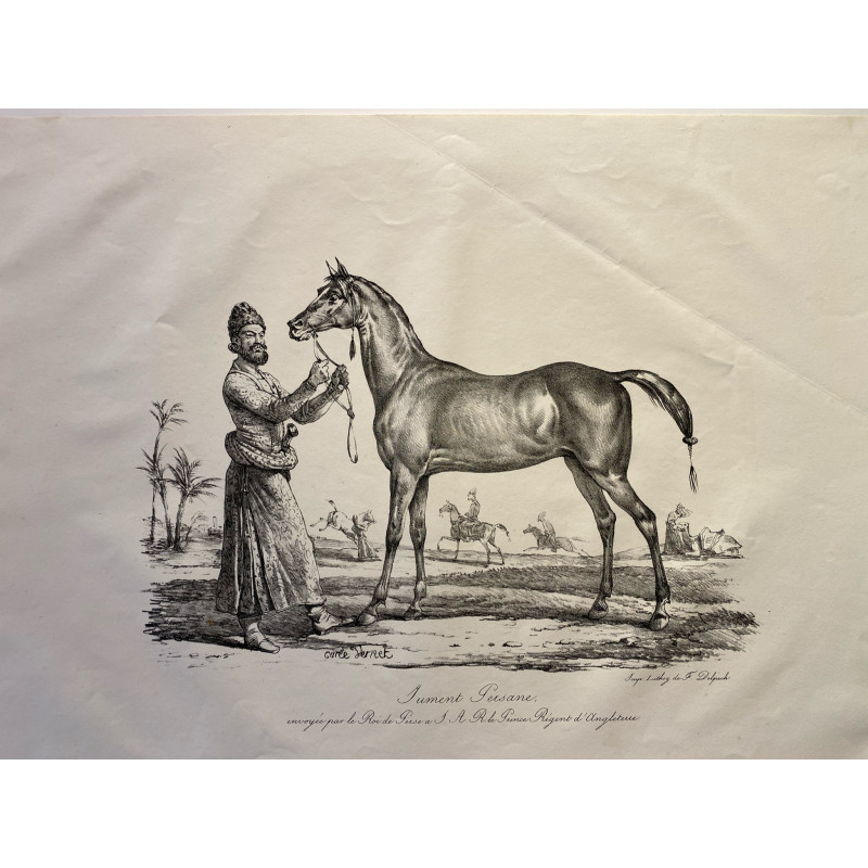 Carle Vernet, la grande suite de chevaux, 1820. Jument Persane.
