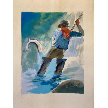 Milovoy Uzelac, les joies du sport, 1932, Pêche à la ligne
