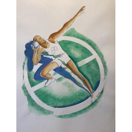 Milovoy Uzelac, les joies du sport, 1932, lancer de poids.