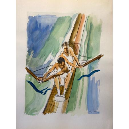 Milovoy Uzelac, les joies du sport, 1932, aviron.