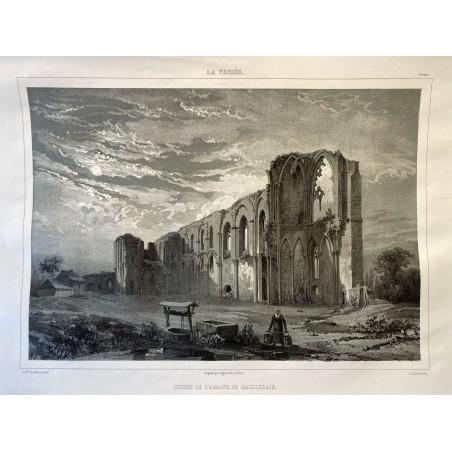 La Vendée, Baron de Wismes, ruines de l'Abbaye de Maillezais, Vendée.