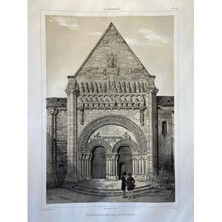 La Vendée, Baron de Wismes, portail de l'église de Vouvant, Vendée.