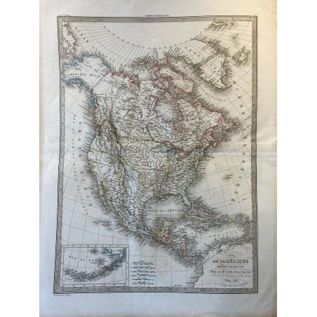 Carte de l'Amérique Septentrionale, Lapie 1838.