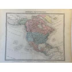 Carte de l'Amérique Septentrionale vers 1860