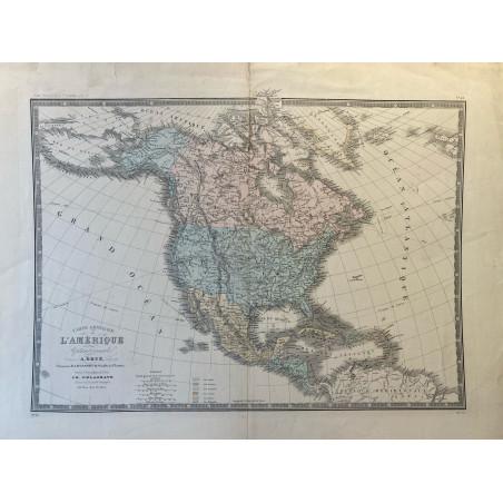 Carte générale de l'Amérique par Brué et Delagrave, 1850.
