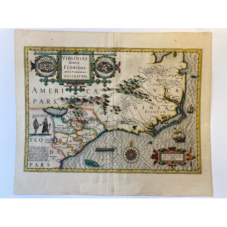 Carte de la Virginie et le Floride, Hondius, 1606.
