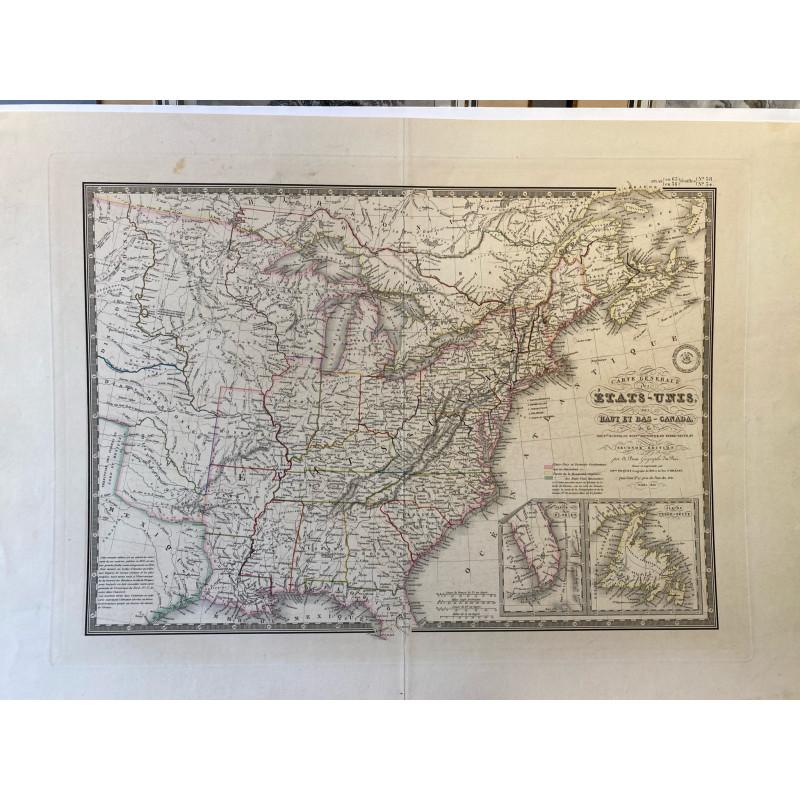 Carte générale des Etats Unis et du Bas Canada, Brué 1836.