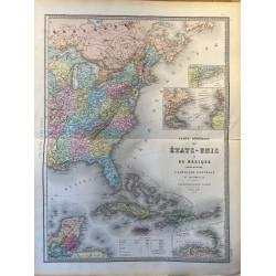 Carte générale des Etats Unis et du Mexique, Andriveau Goujon, 1870.