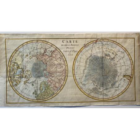 Carte des deux régions Polaires, vers 1760, Bellin