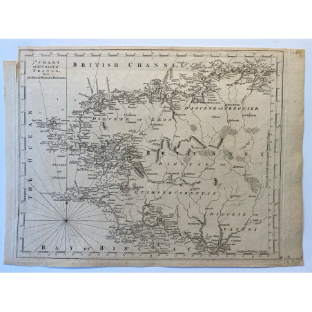 7 th chart of the coast of France, from Bréhat to Port Louis, T.Jefferys, 1761