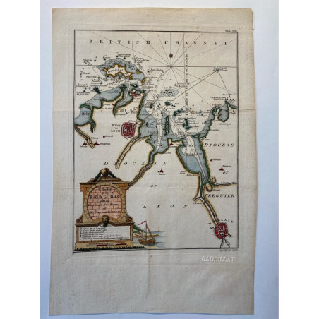 Chart of the road of Bas,  St Pol to Morlaix, T. Jefferys 1761.