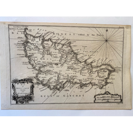 Map of belle Isle divided in parishes, T. Jefferys 1761.