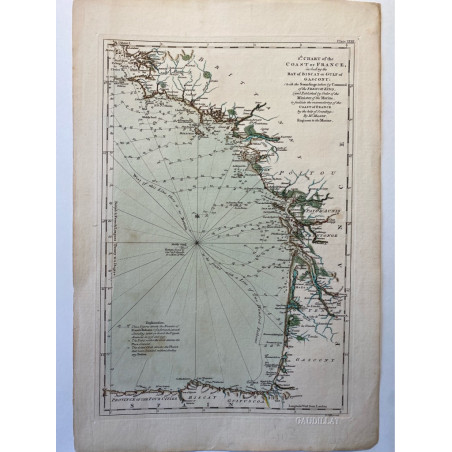 8 th chart of the coast of France, including the bay of Biscay or Gulf of Gascony, T. Jefferys 1761.