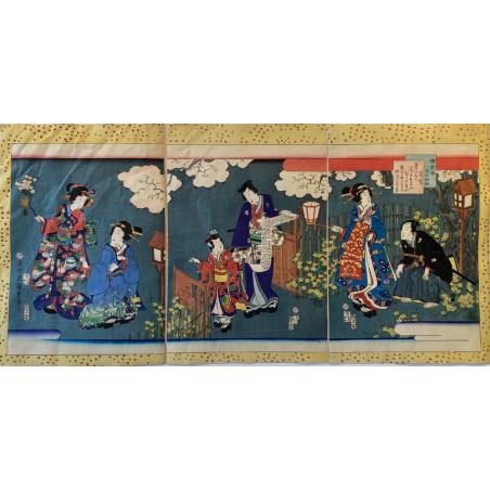 Triptyque d'estampe Japonaise, Kunichika