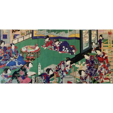 Triptyque d'estampe Japonaise, Kuniteru.