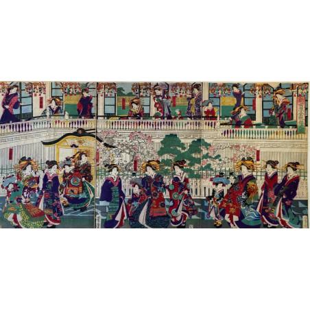 Triptyque d'estampe Japonaise, Kuniteru II