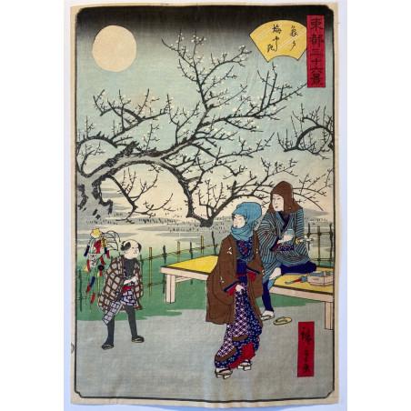 Hiroshigé II, 36 views of eastern capital, Plum garden, Kameido.