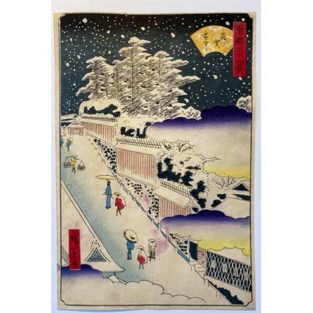 Hiroshigé II, 36 views of eastern capital, Kasumigaseki in snow.