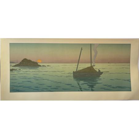 Henri Riviere, soleil couchant, lithographie originale de 1901.